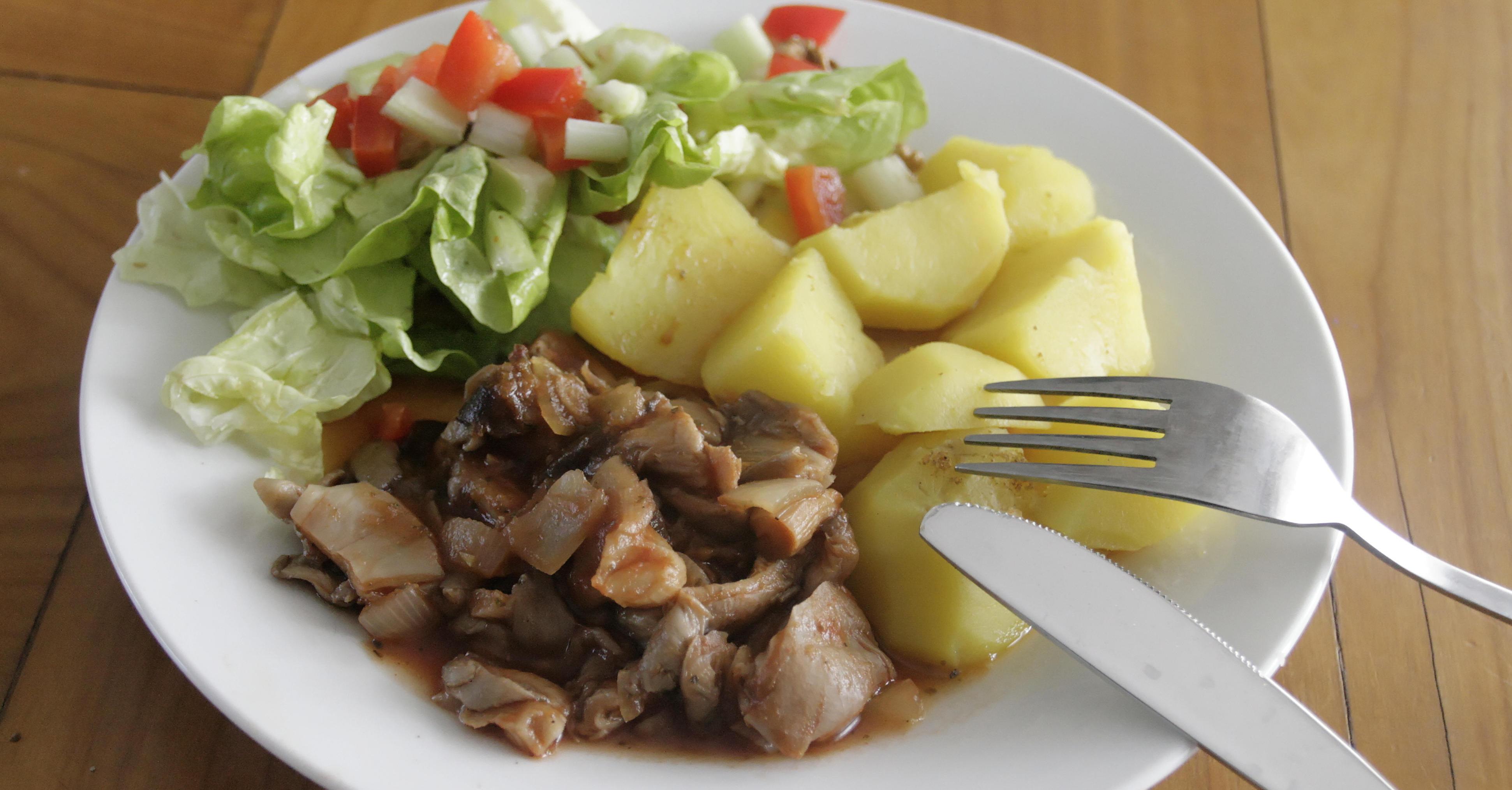 Duszone boczniaki (wegetariańskie, bez tłuszczu)