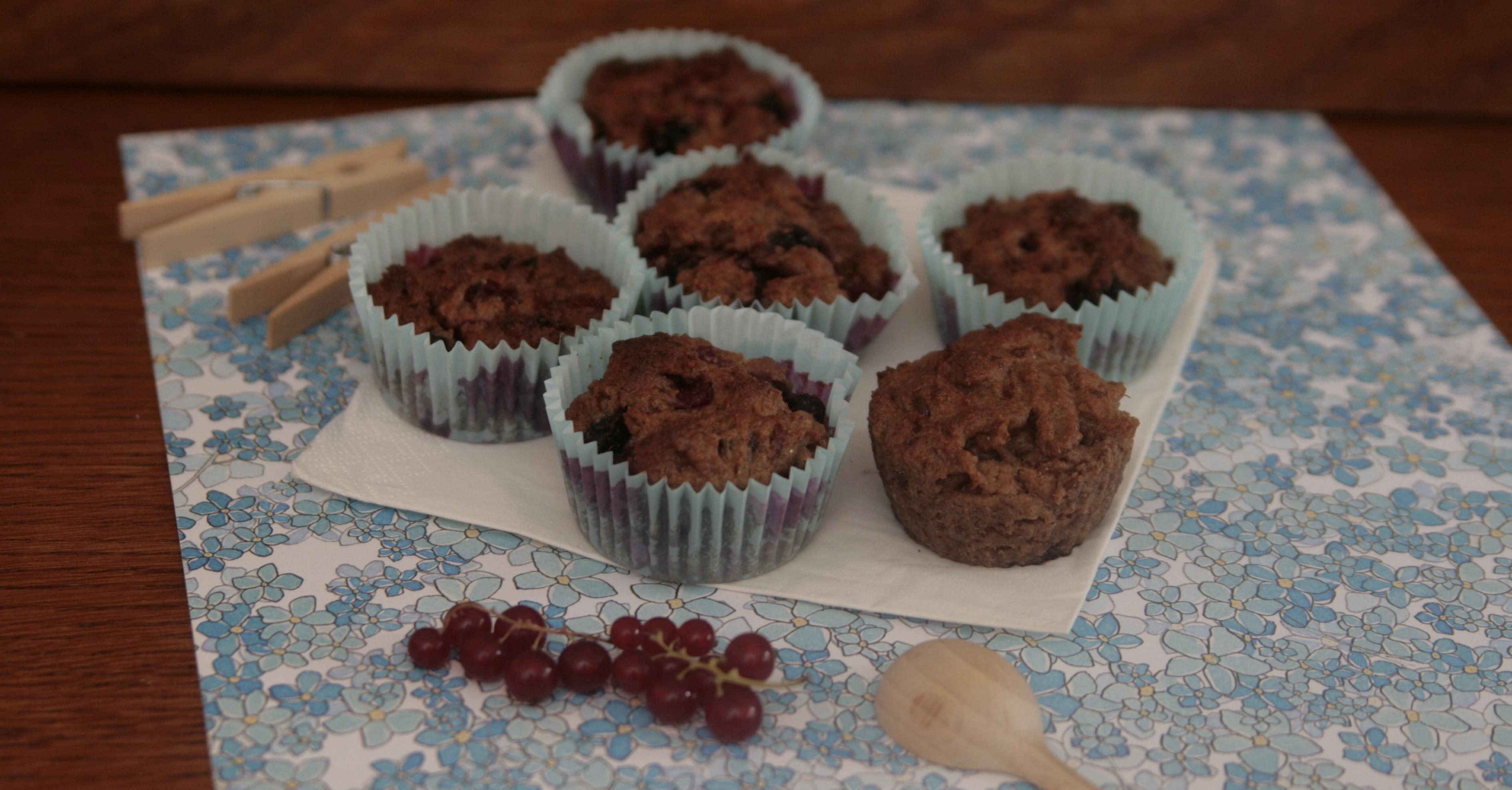 Wegańskie, pełnoziarniste muffinki z porzeczkami (bez cukru)